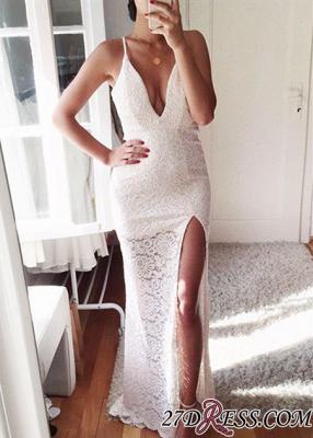 Elegant Front-Split Spaghetti-Strap Mermaid Lace Prom Dress UK_2