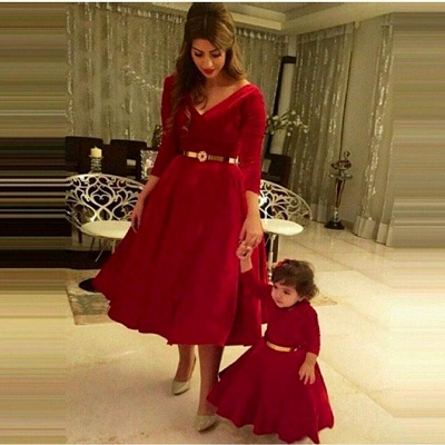 Dramtic 3/4-length-sleeve Red Mother And Daughter Dress UK Sash_2