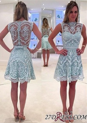High-Neck Modern Sleeveless Lace Zipper A-line Mini Homecoming Dress UK_3