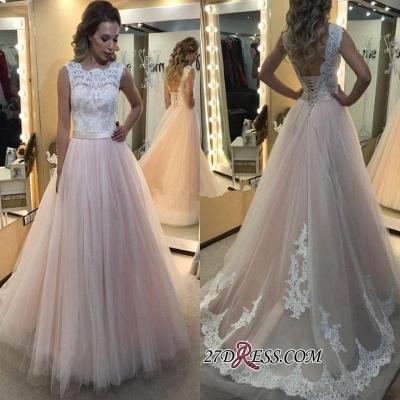 A-Line Lace Elegant Sleeveless Tulle Lace-up Wedding Dress_1