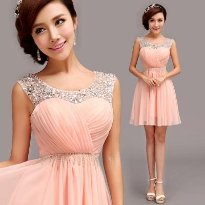 Gorgeous Sleeveless Short Chiffon Homecoming Dress UK With Beadings_1