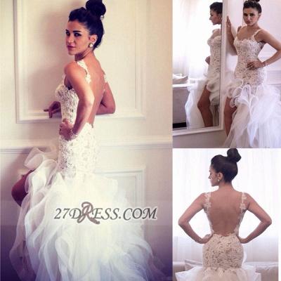Scoop Neckline Sleeveless Hi-Lo Wedding Dress Open Back Lace Appliques Ruffles Bridal Gown_2