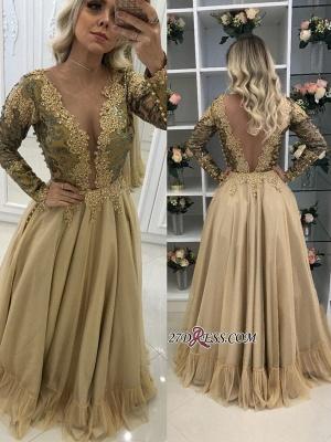 prom Dress UK with gold appliques, long sleeves evening Dress UKes UK_2