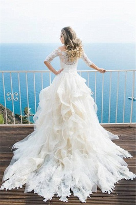 Elegant Half Sleeve Lace Wedding Dress Tulle Zipper Button Back LY190_1