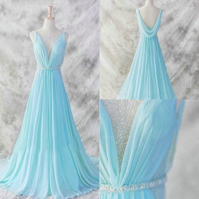 Sexy V-Neck Sleeveless Chiffon Evening Dress UK With Beadings Sequins Prom Gowns_4