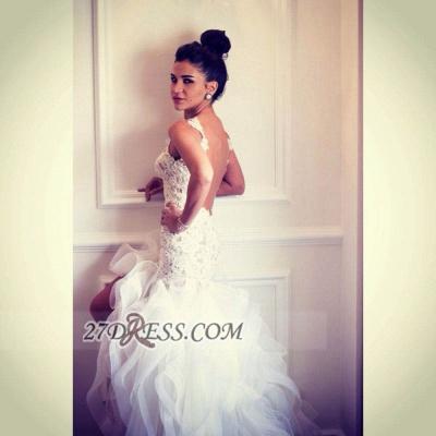 Scoop Neckline Sleeveless Hi-Lo Wedding Dress Open Back Lace Appliques Ruffles Bridal Gown_6