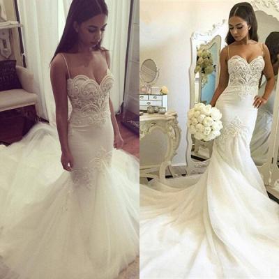 Delicate Tulle Lace Spaghetti Strap Wedding Dress Court Train_4