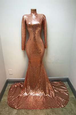 High-Neck Sequins Prom Dress UK   Mermaid Long-Sleeve Evening Gowns_1