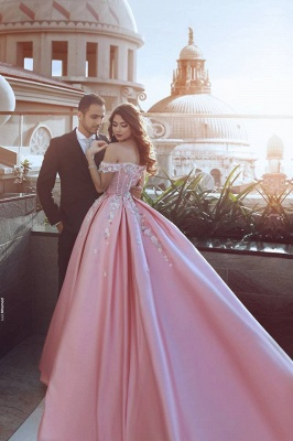 Gorgeous Off-the-Shoulder Princess candy Pink Evening Dress UK With Appliques BA7675_3