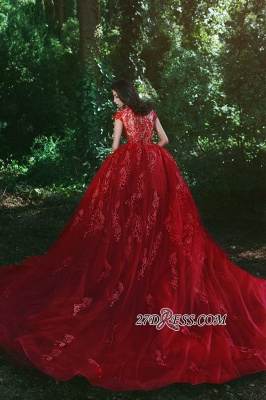 Luxurious Red Cap Sleeve Prom Dress UK Lace Appliques With Ruffles MH0_3