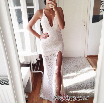 Elegant Front-Split Spaghetti-Strap Mermaid Lace Prom Dress UK_1
