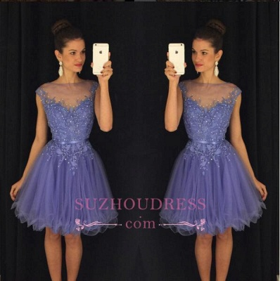 A-Line Beadings Cap-Sleeves Tulle Short Lavender Homecoming Dress UK AP0 BA3684_1