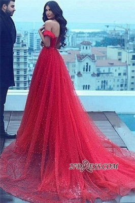 A-line Amazing Sweetheart Red Court-Train Off-the-shoulder Beading Evening Dress UK BA5178_2