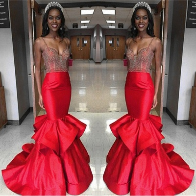 Fit and Flare Spaghetti Straps Prom Dress UKes UK Mermaid Beadings Ruffles BK0_3