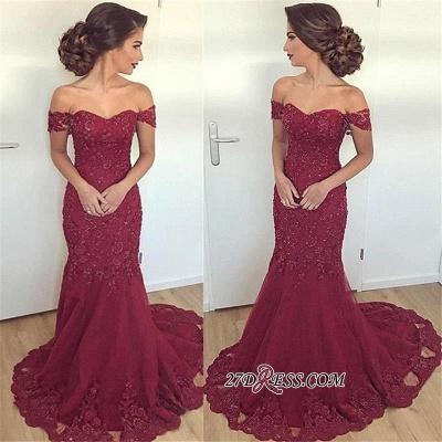 Off-the-Shoulder Mermaid Long Gorgeous Burgundy Lace Appliques Evening Dress UK_1