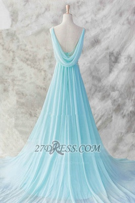 Sexy V-Neck Sleeveless Chiffon Evening Dress UK With Beadings Sequins Prom Gowns_2