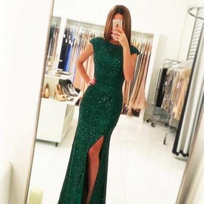Floor-length Backless Sheath-Column Sequins Elegant Green Evening Dress UK_2