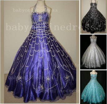 Flower Rhinestone Glitz Pageant Dresses for Girls Unique Wholesale Beaded Ball Gown Girls Dresses_1