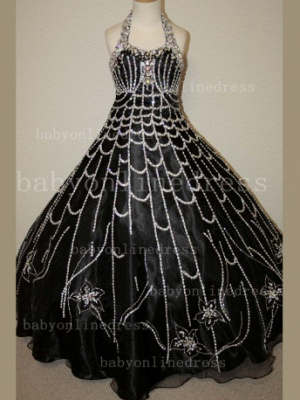 Flower Rhinestone Glitz Pageant Dresses for Girls Unique Wholesale Beaded Ball Gown Girls Dresses_2