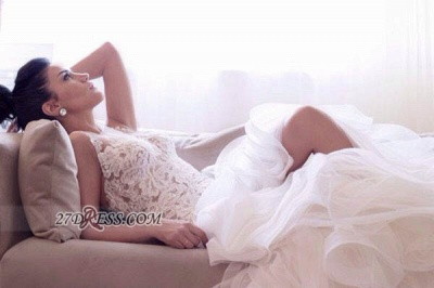 Scoop Neckline Sleeveless Hi-Lo Wedding Dress Open Back Lace Appliques Ruffles Bridal Gown_4