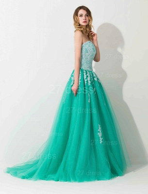 Modern Sweep Train Lace Appliques Evening Dress UK Princess Tulle Sleeveless_2