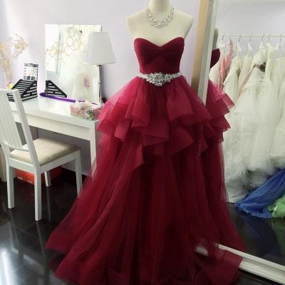 Luxury Sleeveless Ruffle Long Prom Dress UK_1