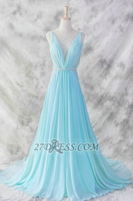 Sexy V-Neck Sleeveless Chiffon Evening Dress UK With Beadings Sequins Prom Gowns_1