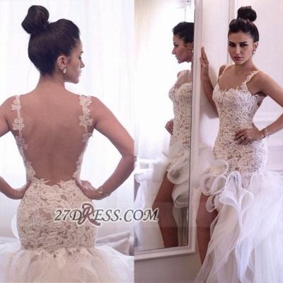 Scoop Neckline Sleeveless Hi-Lo Wedding Dress Open Back Lace Appliques Ruffles Bridal Gown_5