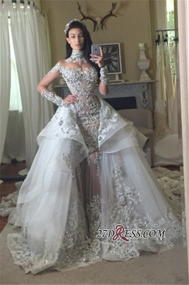 Appliques High-Neck Tulle Long-Sleeves Elegant Detachable-Train Wedding Dresses UK BA7171_2