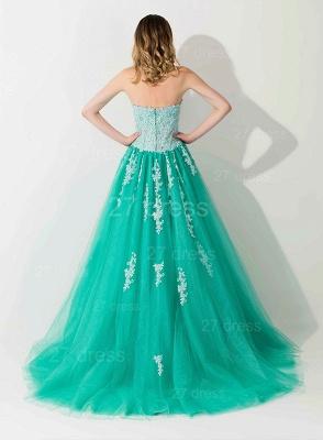 Modern Sweep Train Lace Appliques Evening Dress UK Princess Tulle Sleeveless_3