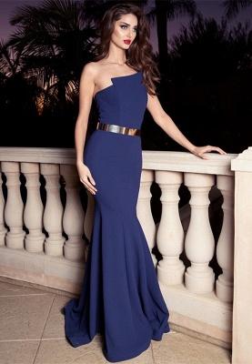 Sexy Mermaid Golden Sash Long Evening Dress UK_1