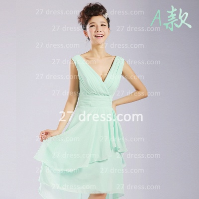 Bridesmaid Dress UKes UK,knee-length Prom Gown A-line 12 Styles Chiffon Ruffles_1