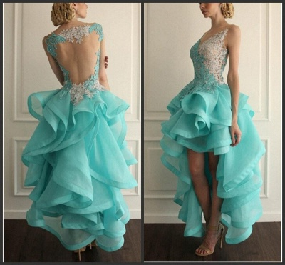Elegant Hi-Lo Sleeveless Prom Dress UK With Appliques Ruffles_1
