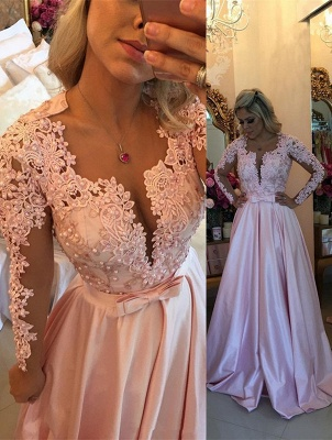 Sexy Lace Appliques Long Sleeve Evening Dress UK With Beads BA7546_1