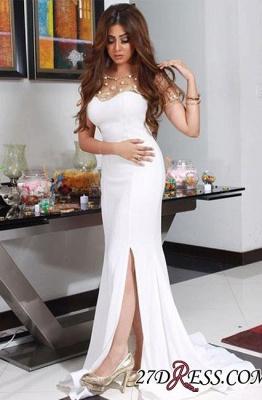 Luxury Beadings Chiffon White Mermaid Split Evening Dress UK_2