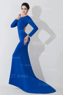 Elegant Mermaid Royal Blue Evening Dress UK Long Sleeve_1