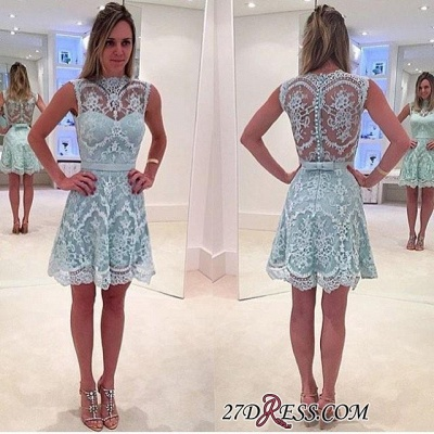 High-Neck Modern Sleeveless Lace Zipper A-line Mini Homecoming Dress UK_2