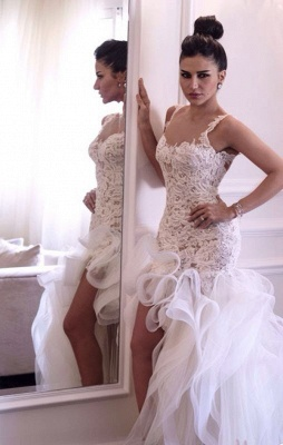 Scoop Neckline Sleeveless Hi-Lo Wedding Dress Open Back Lace Appliques Ruffles Bridal Gown_7