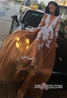 Lace-Appliques Long-Sleeve V-neck Newest A-line Evening Dress UK BK0_2
