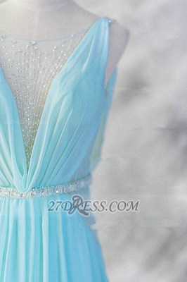 Sexy V-Neck Sleeveless Chiffon Evening Dress UK With Beadings Sequins Prom Gowns_3