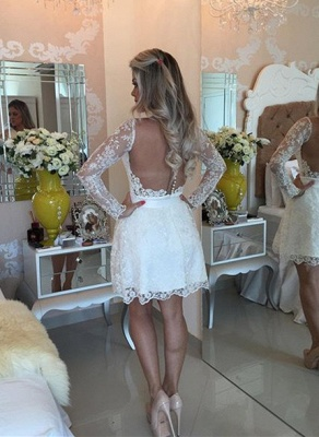 Newest Lace Appliques Mini Homecoming Dress UK Bow Long Sleeve BA6841_3