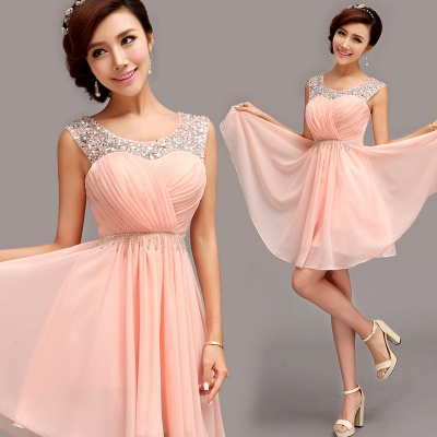 Gorgeous Sleeveless Short Chiffon Homecoming Dress UK With Beadings_3