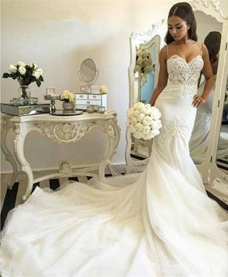 Delicate Tulle Lace Spaghetti Strap Wedding Dress Court Train_5