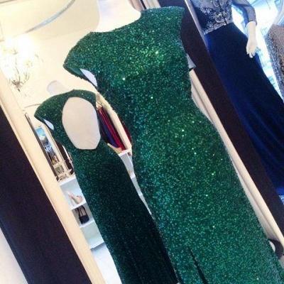 Floor-length Backless Sheath-Column Sequins Elegant Green Evening Dress UK_1
