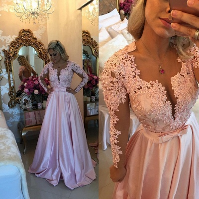 Sexy Lace Appliques Long Sleeve Evening Dress UK With Beads BA7546_3