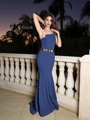 Sexy Mermaid Golden Sash Long Evening Dress UK_3