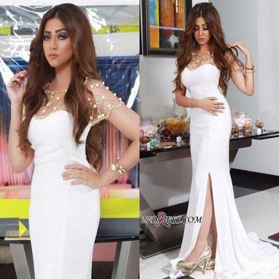 Luxury Beadings Chiffon White Mermaid Split Evening Dress UK_1