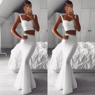 Luxury Two Pieces White Prom Dress UK | Mermaid Beadings Evening Gowns On Sale_3