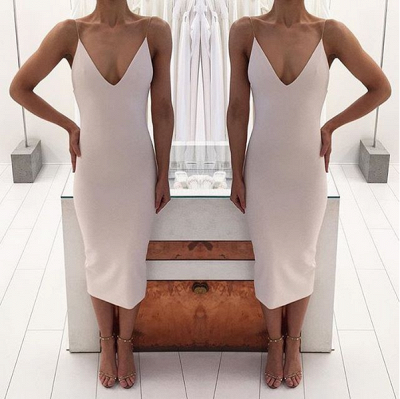 Sexy V-Neck Tea-Length Prom Dress UK Long_3