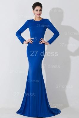 Elegant Mermaid Royal Blue Evening Dress UK Long Sleeve_4